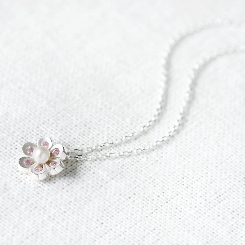 Pink Flower Pearl Necklace 925 Sterling Silver