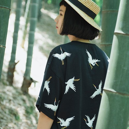 Yam SYAO / Crane Print T-shirt female retro loose cotton