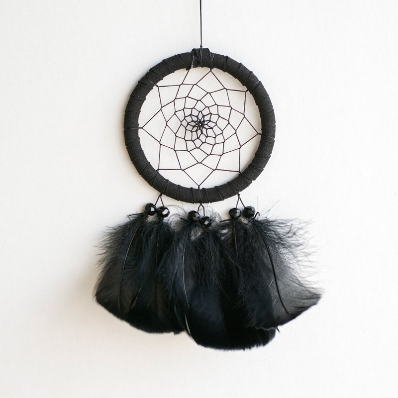 Pure Black (Minimalism Style)-Dream Catcher 8cm-Gift for Boyfriend, Graduation Gift