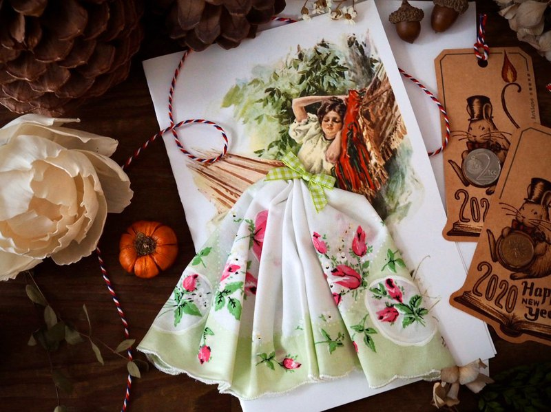 Antique handkerchief handmade card