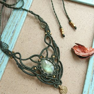 N61 Boho folk style South American wax line Braided Labradorite Necklace Clavicle Necklace