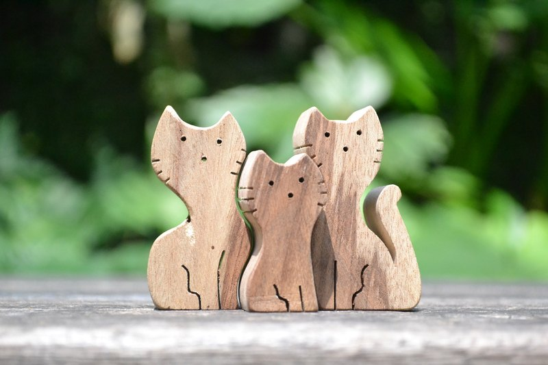 Cat triplets ★ handmade wood