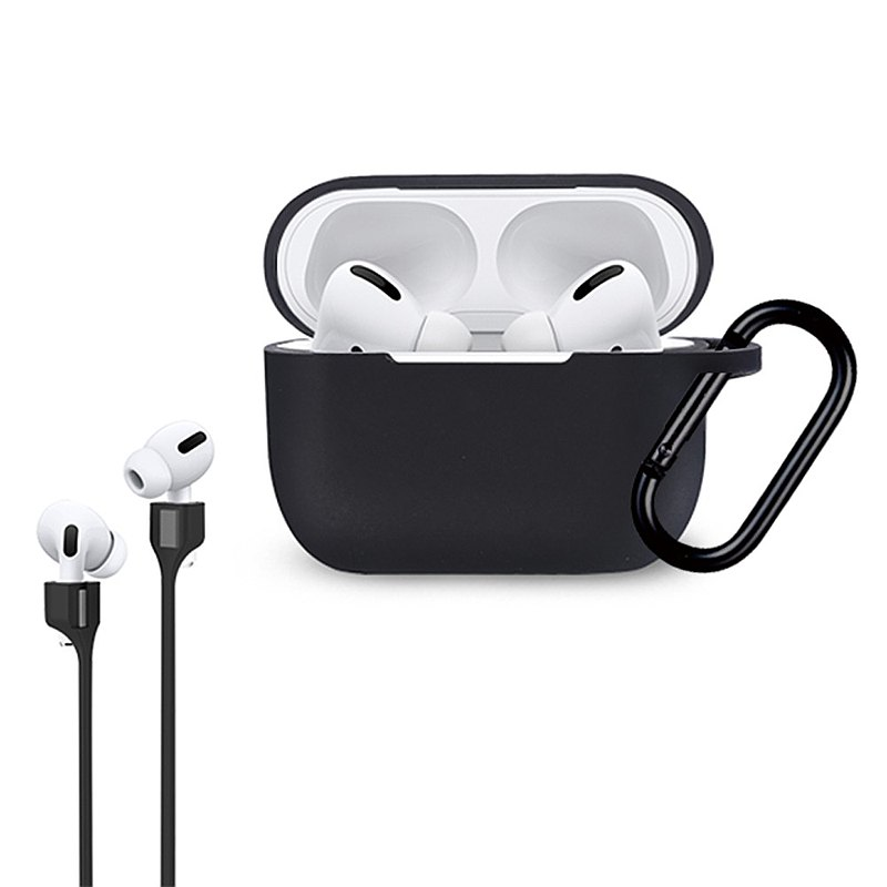 VOYAGE AirPods Pro liquid silicone anti-fall protective cover-black-with lanyard-4716779661620