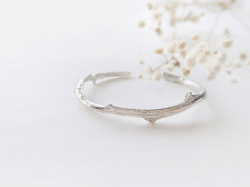 Forest 925 sterling silver lucky gift branch C-shaped bracelet men and women bracelet 2 colors