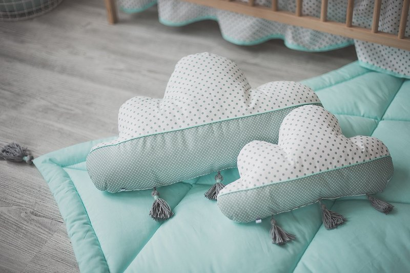 Set of 2! Cloud pillow, baby shower gift, mint pillow, decorative pillow