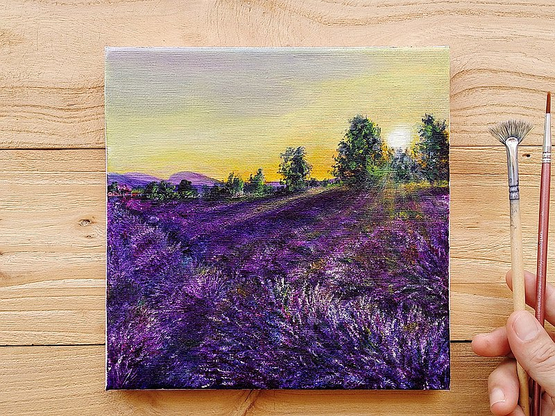 【Lavender Sunrise】Original Acrylic Painting. Purple Flowers Field Landscape.