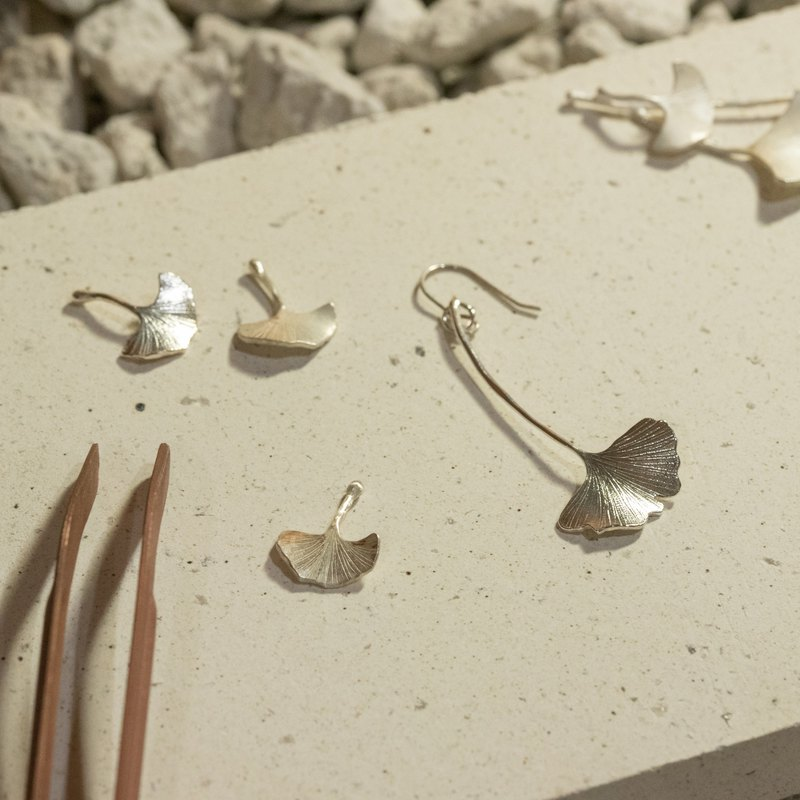 . Special Valentine's Day order. Ginkgo ear clip + shell ear clip + open ginkgo leaf ring / 925 silver