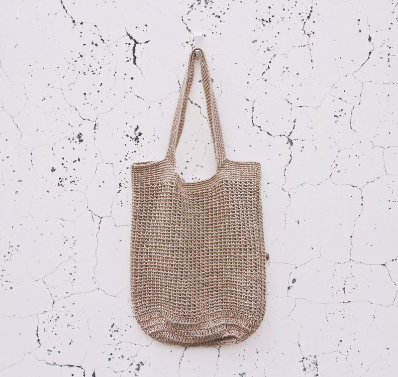 Handmade hand-woven / jute rope woven mesh bag / shopping bag / handbag / hemp rope bag-enlarged version