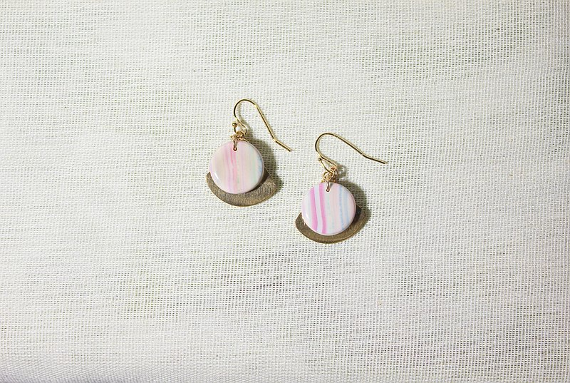 Pink stripe earrings