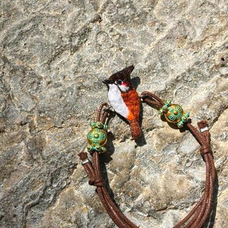 Red eared embroidery hand rope bird bracelet