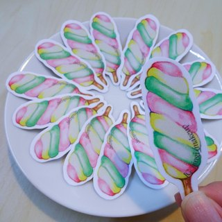 Hand tracing sweet colorful candy stickers set candy hand painted watercolor wind sticker pack
