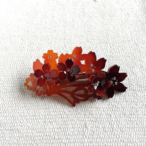 Cherry stained, automatic clip, hairpin - amber