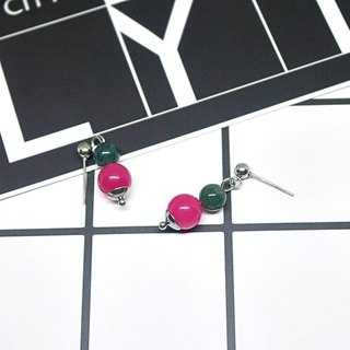 Stainless steel X natural stone needle earrings <green system>