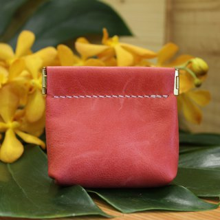[Mini5] shrapnel gold coin purse / headphone storage bag / leather small bag (red)