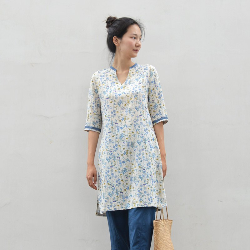 BUFU colorful printed cotton Chinese dressD190362