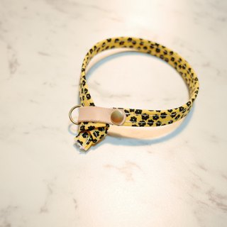 Cat collar leopard yellow small floral double-sided wear can add the purchase tag