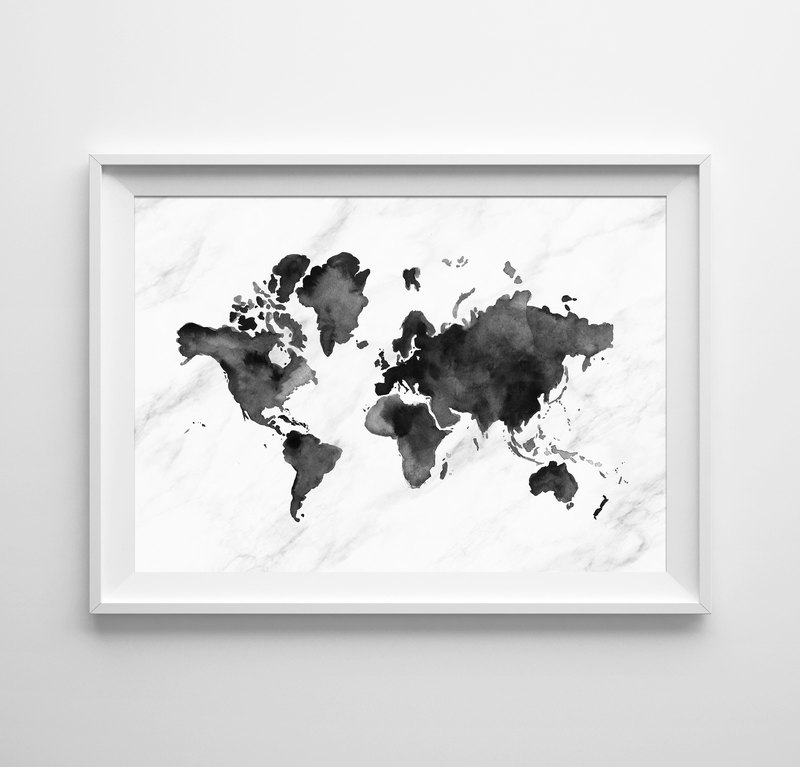 World map watercolor print black (1) Customizable painting poster