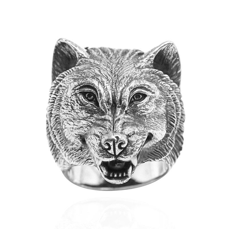 Silver tooth wolf animal animal sculpture sterling silver ring 925 silver