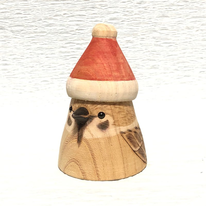 Santa Claus hat bird-sparrow  wooden figurine
