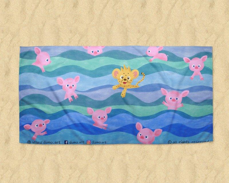 游渡海泳的Dumo與豬豬群 大浴巾