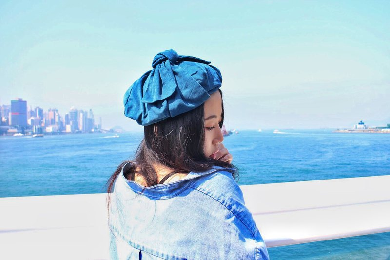 Butterfly Beret Bow | Painter Hat | Six-Piece Crop | Sea Blue
