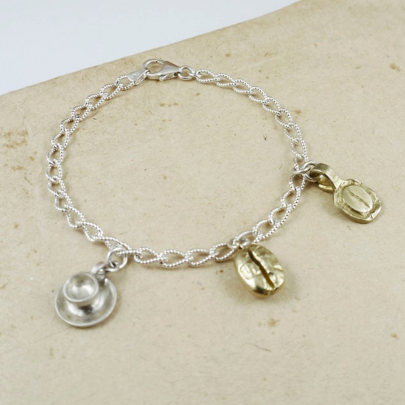 Coffee Series - Coffee Carnival Sterling Silver Bracelet Three-piece Set - Customized Coffee Creative Handmade Jewelry