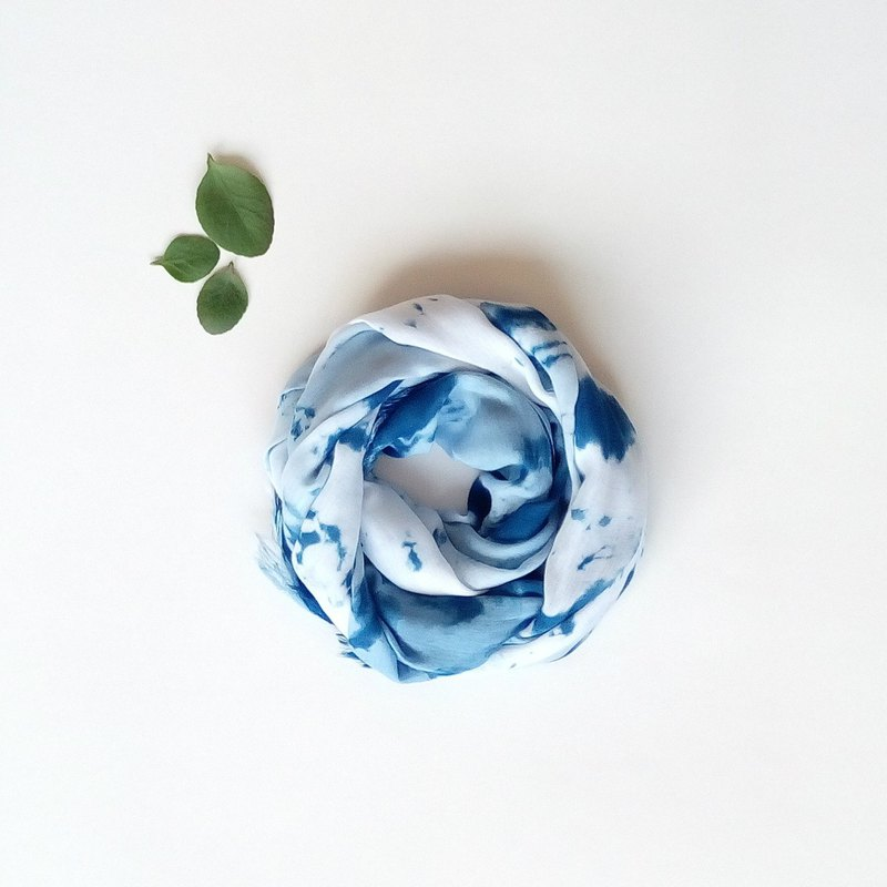 Hand dyed unique pattern scarves natural blue dyed hand dyed scarves scarf shawl Wenchuang limited edition