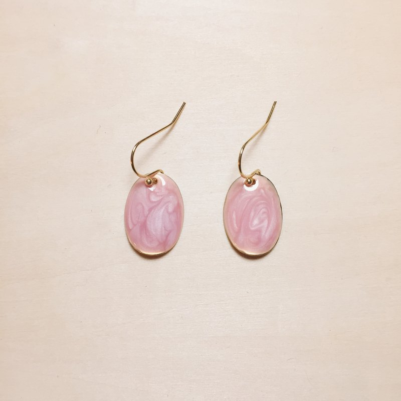 Vintage pink drop glazed oval earrings