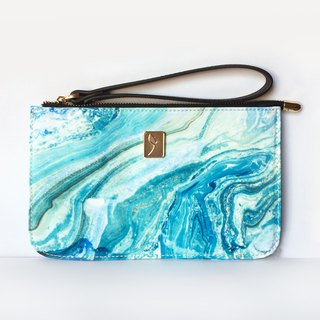 Blue abstract marbled long mobile phone bag purse casual portable hand bag