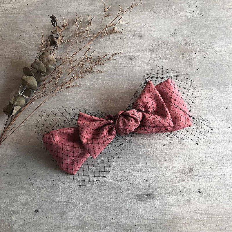 Rose pink mesh suede bowknot hair band