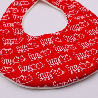 Red cat bib double yarn saliva towel