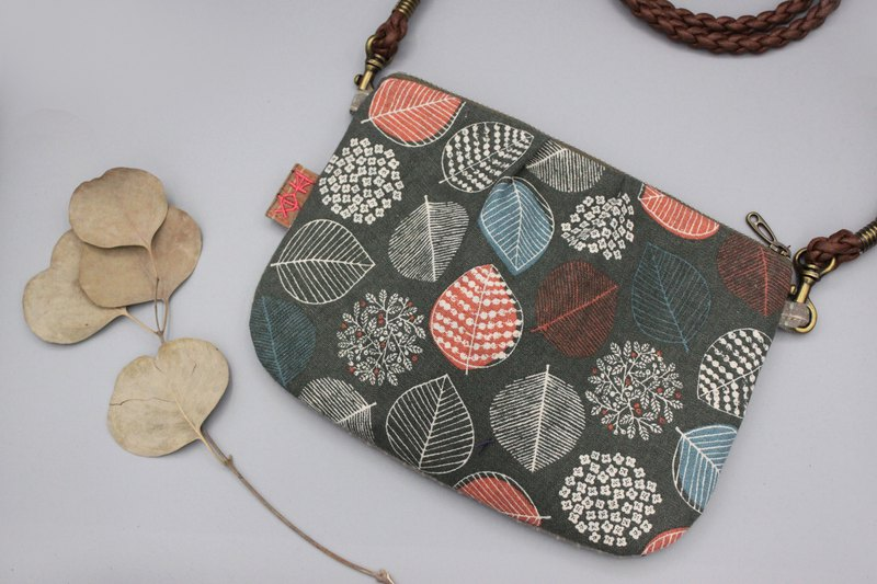 Peaceful side backpack - gray orange leaves, feel cotton and linen, double-sided two-color back