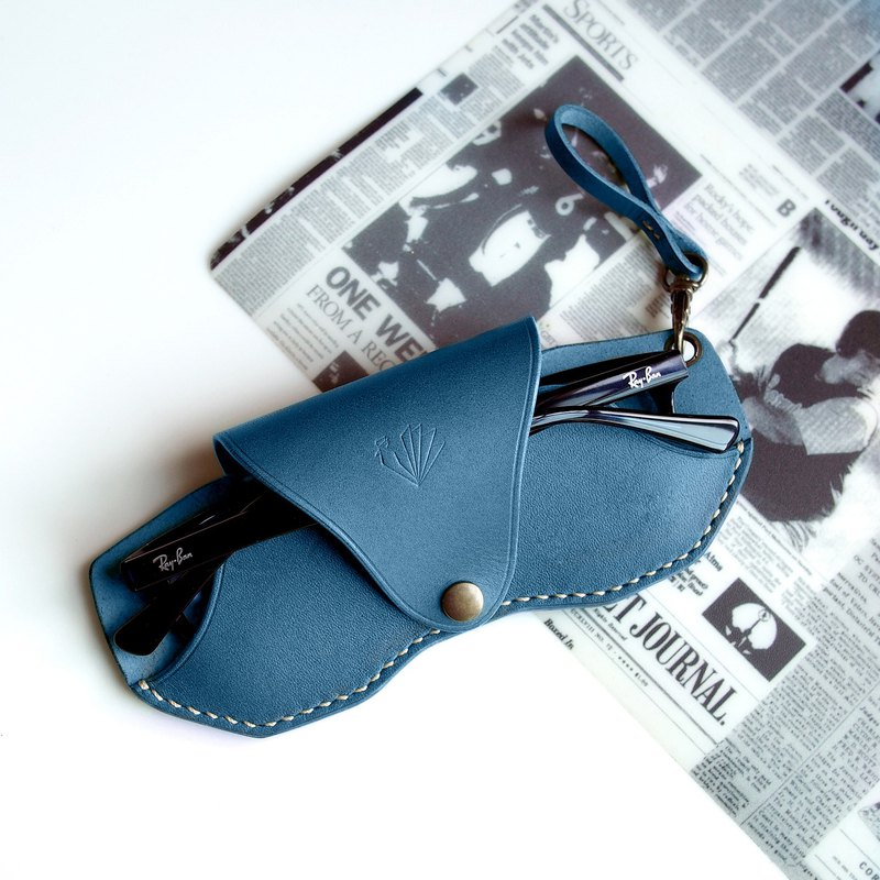 Handmade Personalized Slim Glasses Case, Blue-Ocean Vegetable Tanned Leather