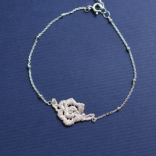 Lace rose diamond bracelet hand made 925 sterling silver