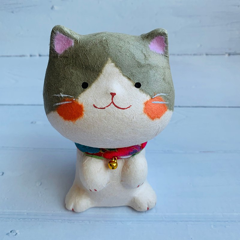 Happy Duoliang cat-small-Japanese paper gray cat