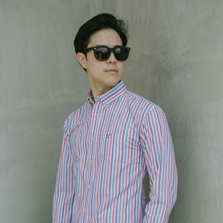 (SIZE M) PLANE // red navy stripe // men slim fit