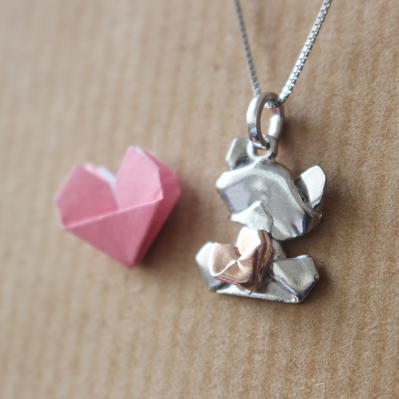 Bear My Love - 925 Silver Origami Little Bear Necklace (Silver/Gloss)
