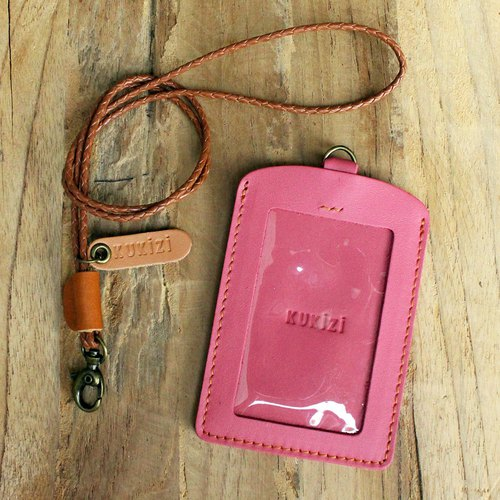 ID case/ Pass case/ Card case - ID 2 - Pink+Tan Lanyard (Genuine Cow Leather)