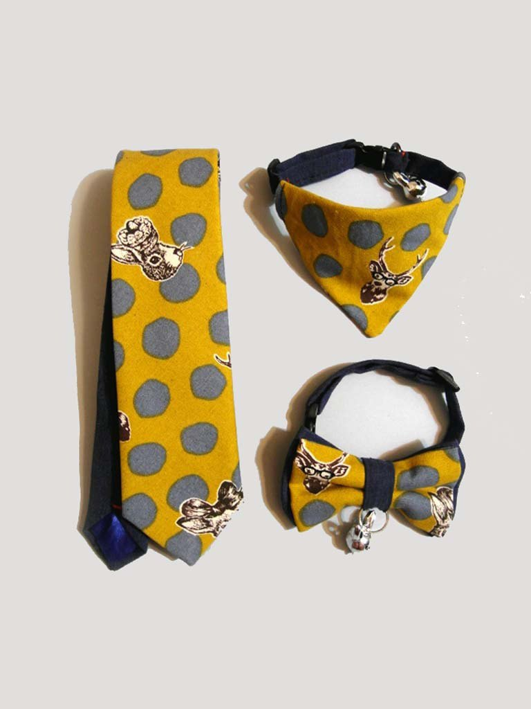 Pop style animal tie / pet bow tie scarf father and son