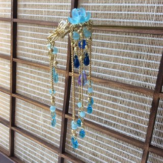 喵 Handmade ~ Chinese style gorgeous butterfly love hairpin / water blue / gold (brass color) / silver