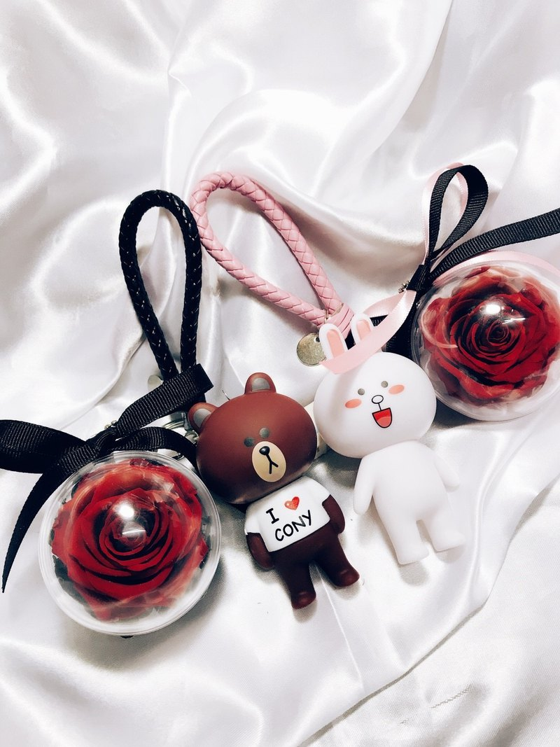 Bunny Bear Eternal Flower Ball Pendant Keychain Jewelry Line Leather Rope Not Withered Rose