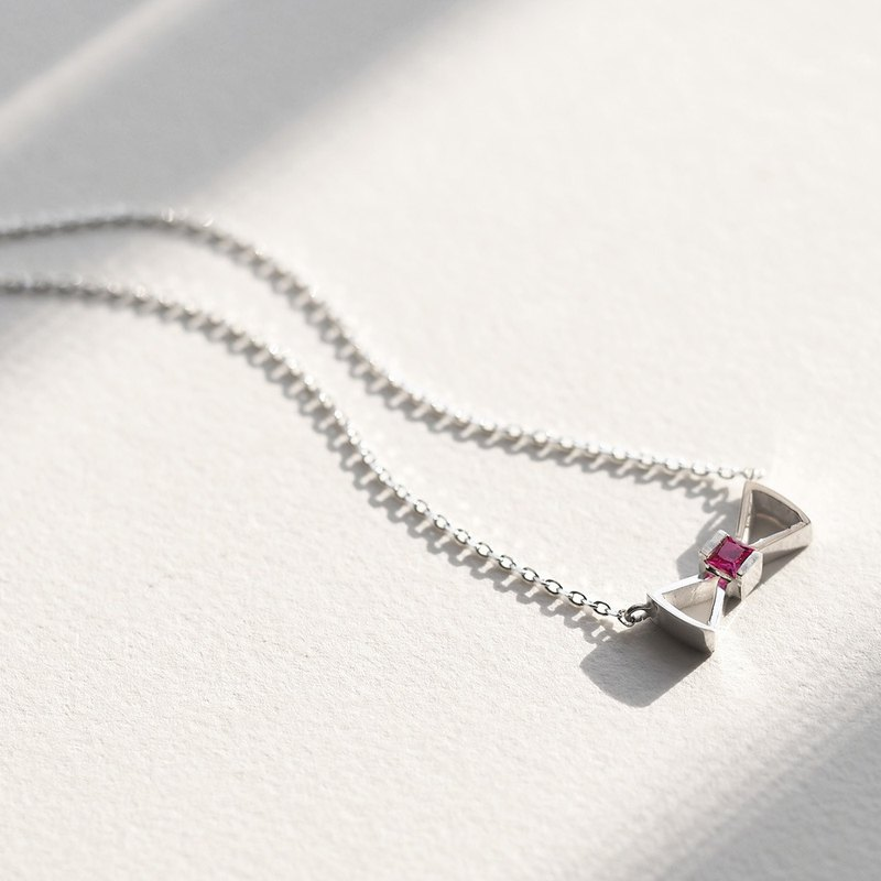 Ruby) Ribbon Necklace Silver 925