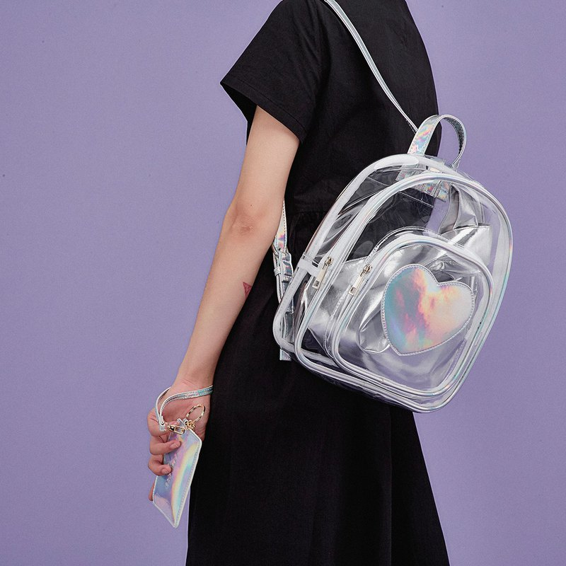 A pack of three-use laser transparent bag girl shoulder bag Japanese wrist bag original design love backpack