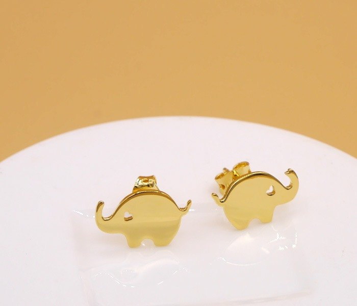 Handmade Little Elephant Earring - 18K gold plated on brass,Animal Jewelry