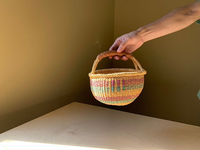 Early African Ghana Hand Woven Small Basket / Picnic Basket Cowhide Handle