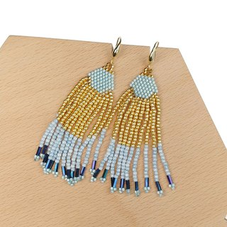 Gold-Light-Blue Waterfall Beaded Tassel Earrings