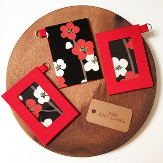ID Badge Holder / Metro Card Holder  Red Plum Blossom