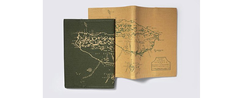· Green cloth map notebook