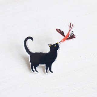 Black Cat & Bird fall in love small badge / pin I Cat Lover