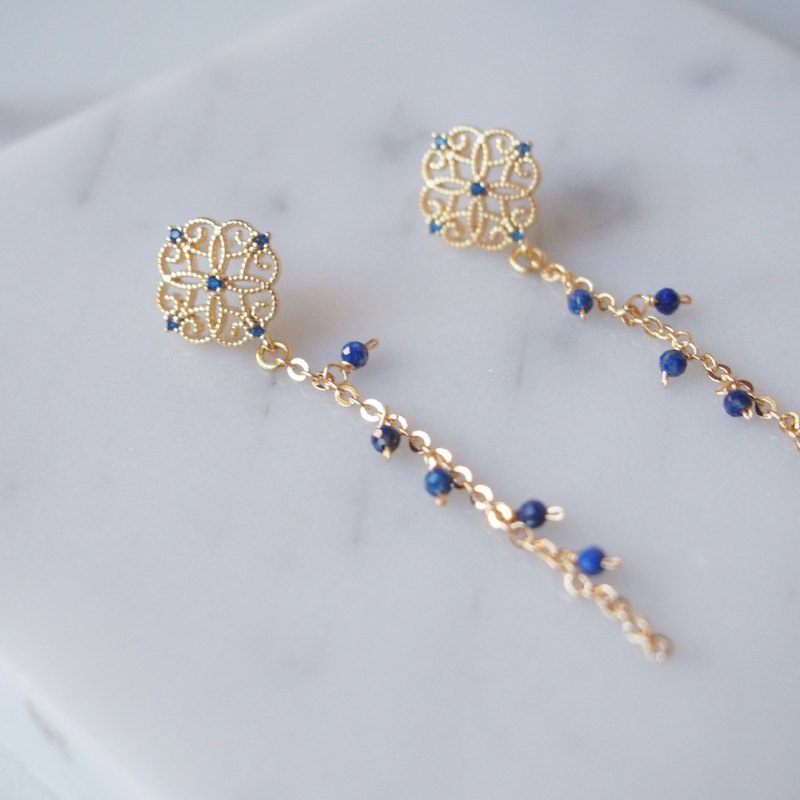 Expensive zircon hollow flower lapis lazuli long earrings earrings earrings birthday gift